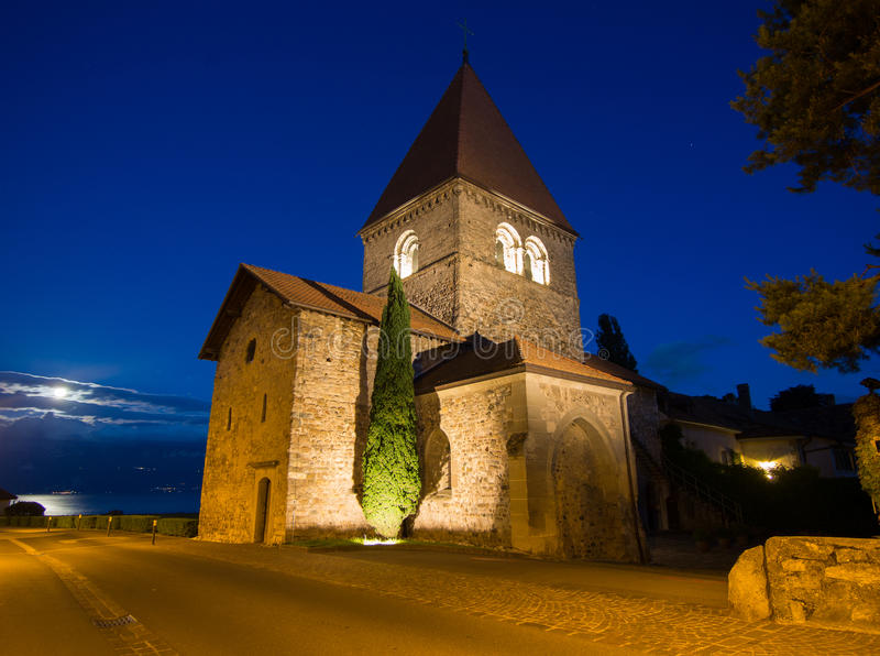 Download Church In Saint-Sulpice, Switzerland After Sunset Stock Image - Image: 31871773