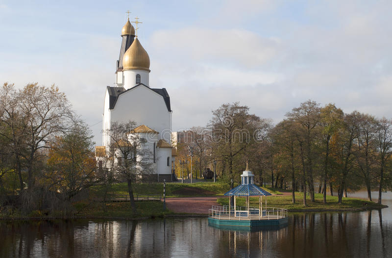 The Church of Saints Peter and Paul on the shores of lake autumn day. Sestroretsk royalty free stock photo