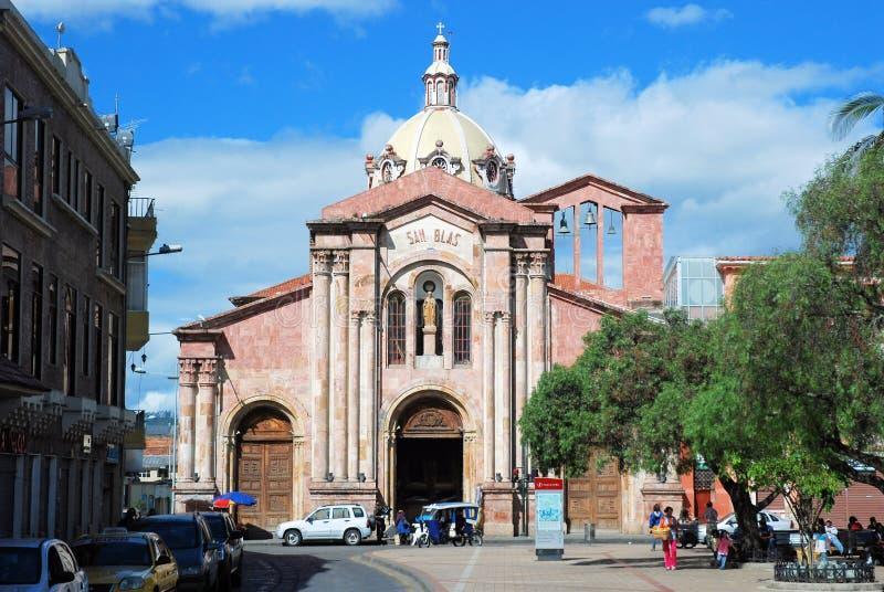Church of San Blas - Cuenca – Ecuador. Church of San Blas with Romanesque façade completely covered with pink marble - Cuenca – Ecuador royalty free stock photo