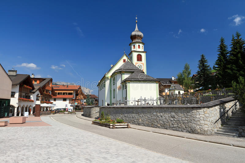 Church in San Cassiano stock images