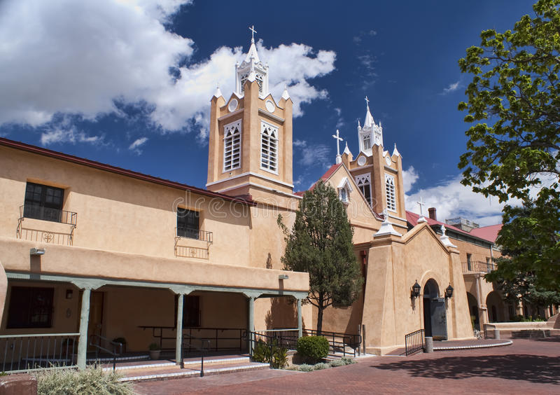 Church of San Felipe in Albuquerque, New Mexico. Historical Church of San Felipe with Blue Sky and White Clouds in background. Old Town Albuquerque, New Mexico royalty free stock image