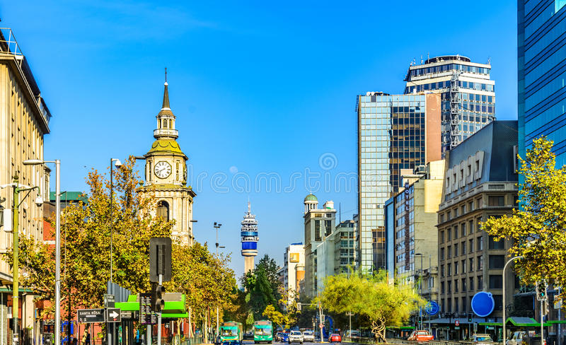The church of San Francisco , the TV tower iand the down town strets in Santiago, Chile stock photo