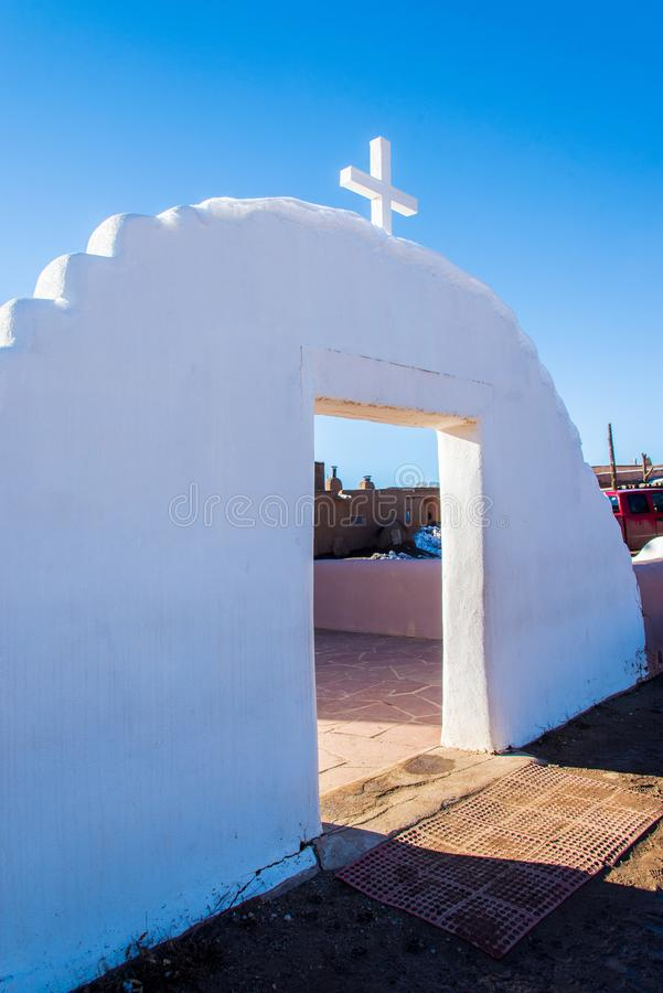 Church of San Geronimo, Taos Pueblo. TAOS PUEBLO, NEW MEXICO / UNITED STATES - NOVEMBER 19, 2015: Church of San Geronimo, repeatedly destroyed since it was first stock images