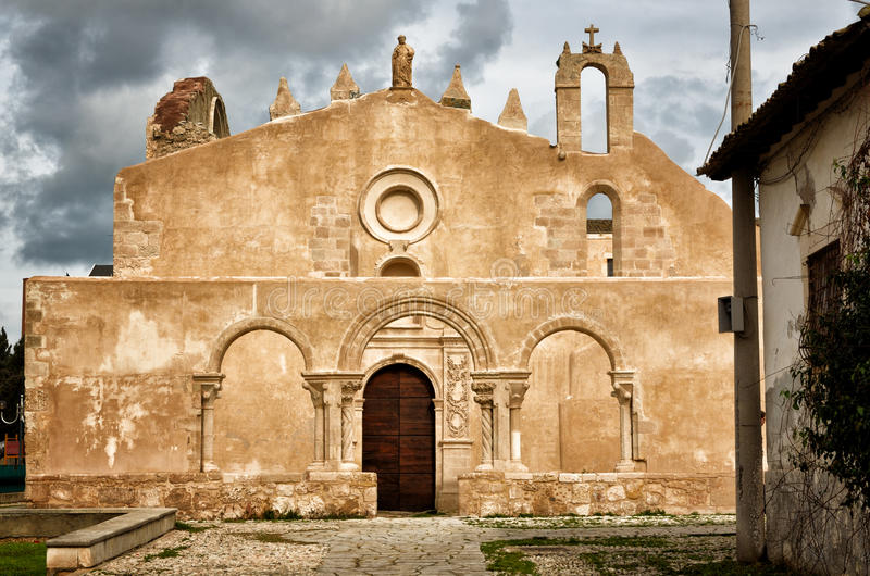 The church San Giovanni in Siracusa, Italy. Siracusa, Sicily, church of San Giovanni, Italian destination. Catacombs entrance stock photos