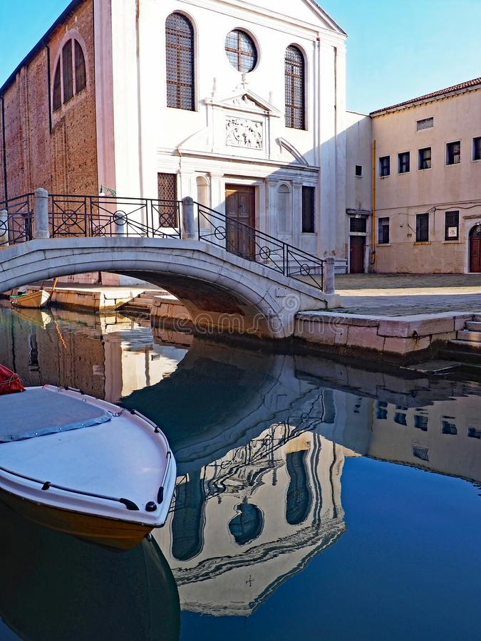 The Church of San Giuseppe di Castello in Venice, Italy. The church of San Giuseppe di Castello is reflected in a canal in the city of Venice, Italy royalty free stock image