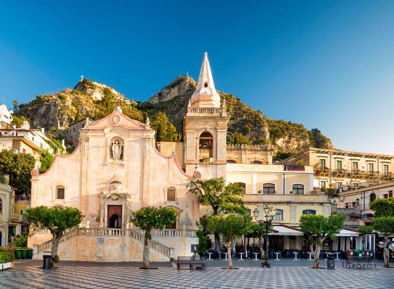 Church of San Giuseppe in Taormina. Piazza IX Aprile stock photography