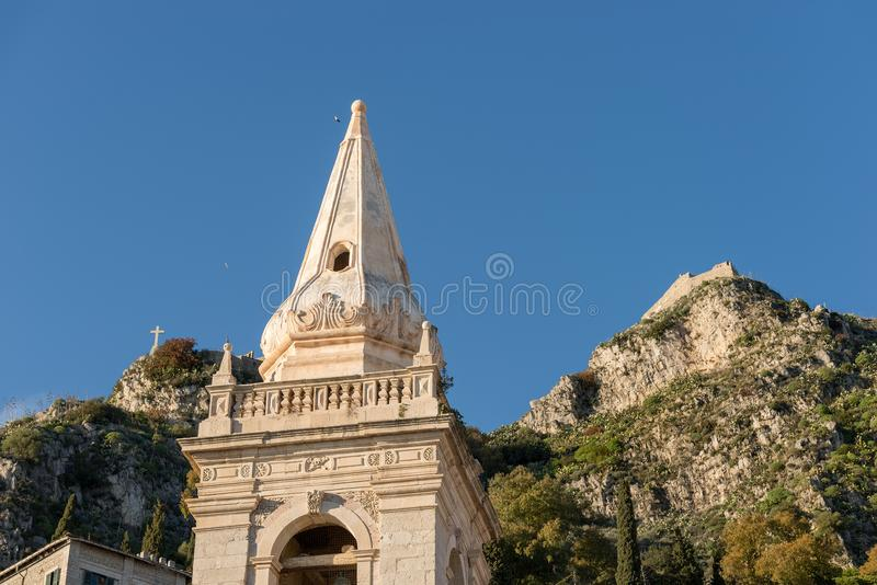 Church of San Giuseppe - Taormina Sicily Italy. Close up of the Church of San Giuseppe St. joseph and the hills in the Taormina town, Messina, Sicily island stock images