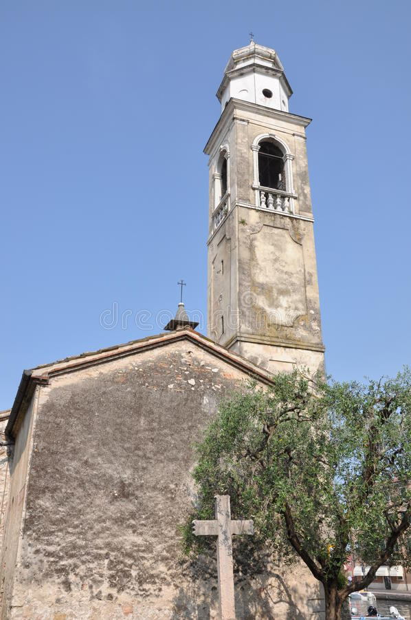 Church of San Nicolo Lazise Italy. Church of San Nicolo on the banks of Lake Garda, Lazise Italy stock photos
