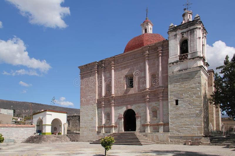 Church of San Pablo Villa de Mitla, Mexico. San Pablo de Mitla is a town and municipality in Mexico which is most famous for being the site of the Mitla stock photos