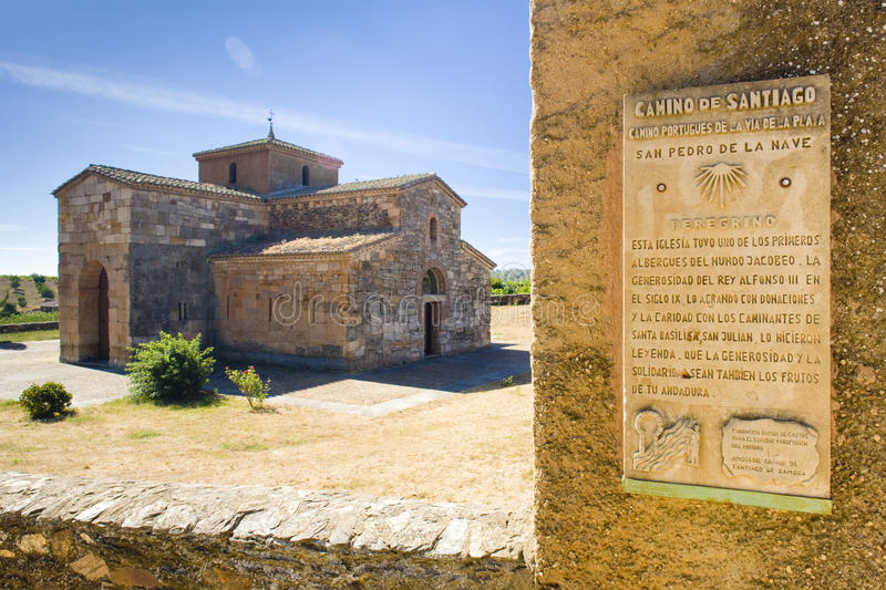 Church of San Pedro de la Nave. Road to Santiago de Compostela, church of San Pedro de la Nave, El Campillo, Castile and Leon, Spain royalty free stock photography