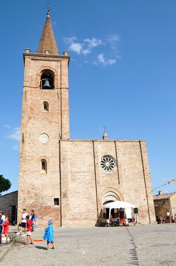 Church of San Pietro Apostolo in the medieval village of Castignano in Italy. Facade of the Church of San Pietro Apostolo in the medieval village of Castignano stock photo