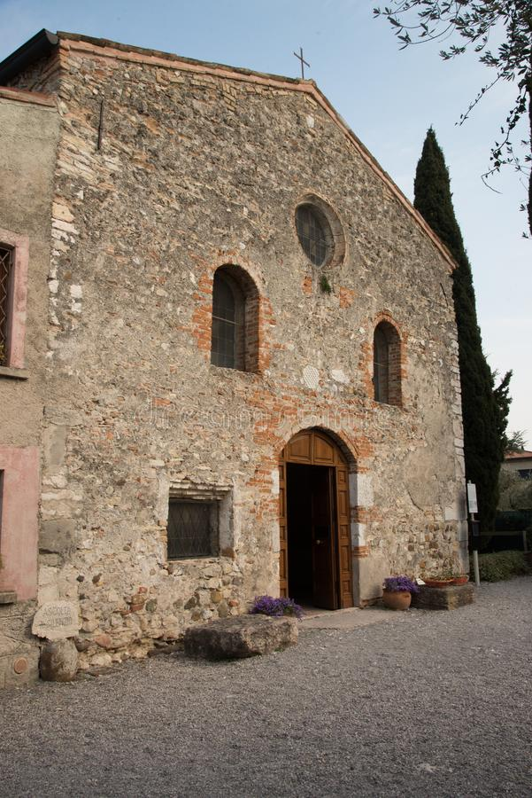 external façade of the Church of San Pietro in Mavino, Sirmione, Italy. stock images