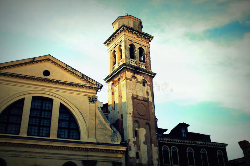 Church of San Trovaso facade from the channel Side, Venice.  stock photography