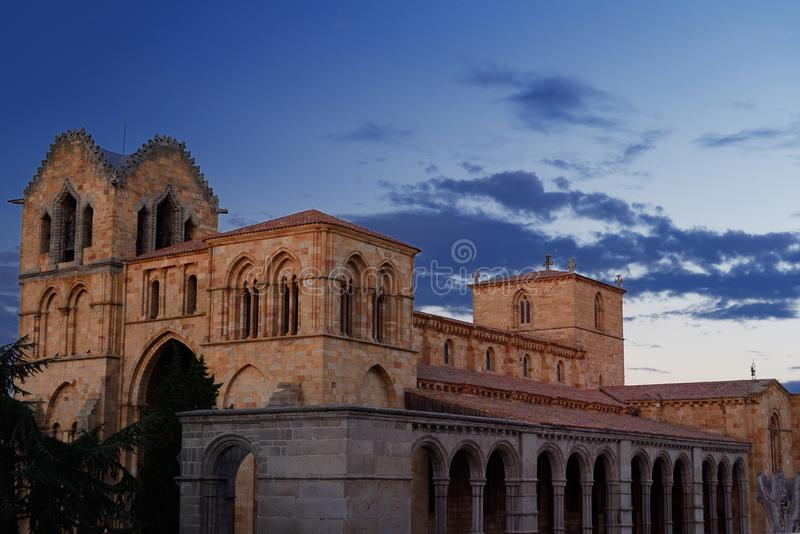 Church of San Vicente in Avila. Basilica of San Vicente at the entrance of the walled city of Avila built initially in Romanesque style and one of the biggest stock images