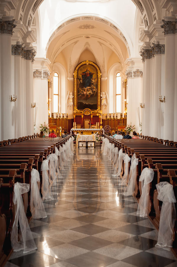 Church sanctuary before a wedding ceremony royalty free stock photo