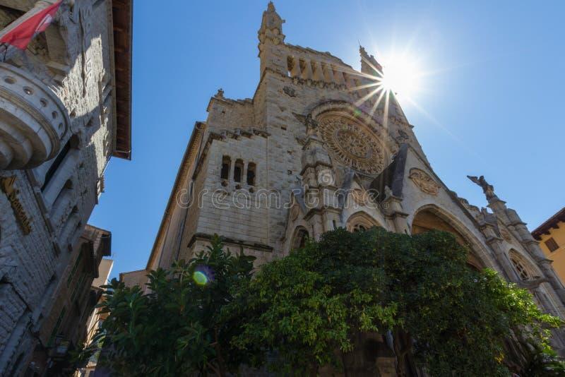Church of Sant Bartomeuin the central Soller, Majorca, Spain royalty free stock photography