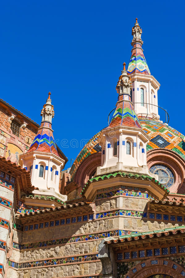 Church of Sant Roma. Towers of Parish Church of Sant Roma in Lloret de Mar, Costa Brava, Spain stock photos