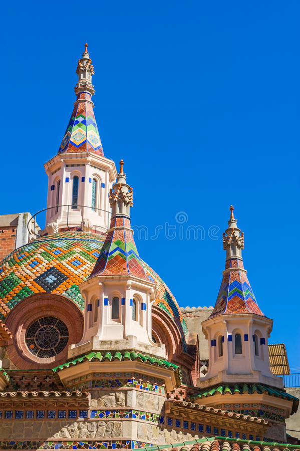 Church of Sant Roma. Towers of Parish Church of Sant Roma in Lloret de Mar, Costa Brava, Spain royalty free stock photos