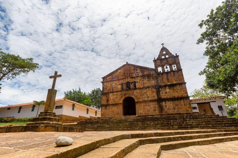 Church of Santa Barbara. The Church of Santa Barbara in Barichara, Colombia stock images