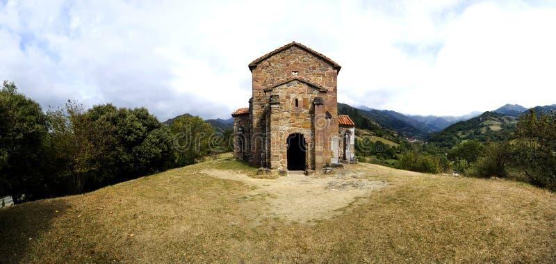 Church of Santa Cristina de Lena Oviedo. Panoramic of Church of Santa Cristina de Lena Oviedo stock image