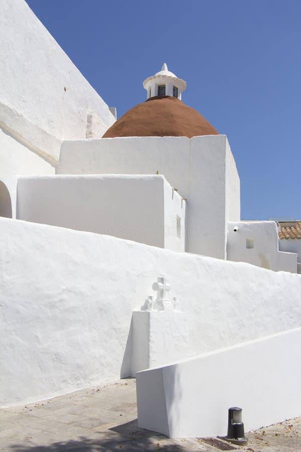Church of Santa Eularia des Riu in Ibiza stock photography
