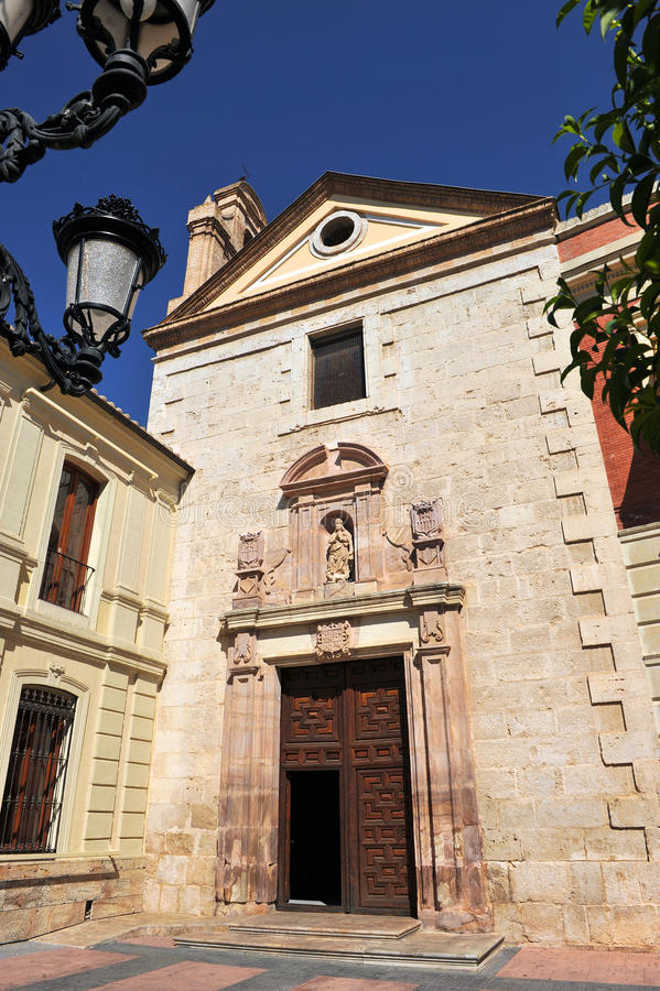 Church of Santa Maria del Prado named Merced, Ciudad Real, Spain. Baroque facade of the church of The Mercy in Ciudad Real, Castilla la Mancha, Spain stock image