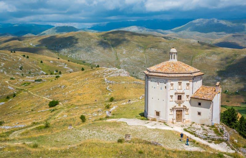 Church of Santa Maria della Pietà near Rocca Calascio in the Province of L`Aquila in Abruzzo, Italy. stock photos