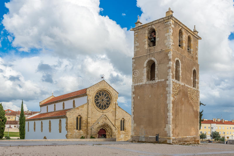 Church of Santa Maria do Olival with bell tower in Tomar ,Portugal. Church of Santa Maria do Olival with bell tower in Tomar - Portugal royalty free stock images