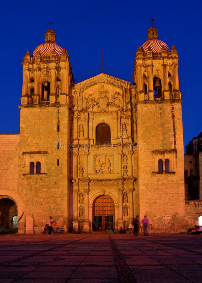 Church of Santo Domingo de Guzman. Oaxaca, Mexico. Church of Santo Domingo de Guzman at night, Oaxaca, Mexico stock photography