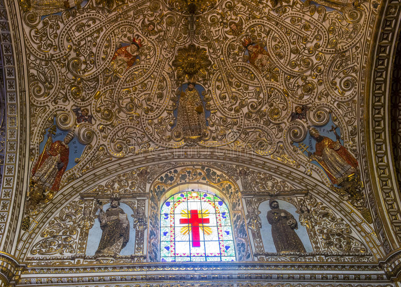 The church of Santo Domingo de Guzman in Oaxaca Mexico. OAXACA , MEXICO - NOV 02 : The interior of Santo Domingo de Guzman church in Oaxaca , Mexico. on November royalty free stock photos