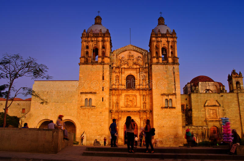 Church of Santo Domingo de Guzman. Oaxaca, Mexico. Oaxaca, Mexico - November 22, 2016:Church of Santo Domingo de Guzman at night, Oaxaca, Mexico royalty free stock images