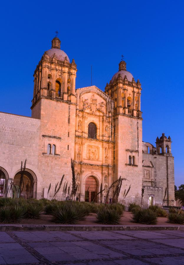Church of Santo Domingo de Guzman. Oaxaca, Mexico. Oaxaca, Mexico - November 20, 2016:Church of Santo Domingo de Guzman at night, Oaxaca, Mexico royalty free stock photo