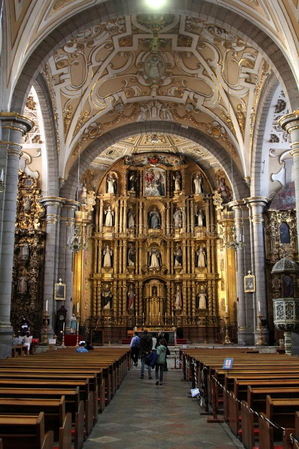 Santo Domingo Church, Puebla, Mexico. The Church of Santo Domingo in Puebla, Mexico. The Chapel of the Rosario is located in the Church of Santo Domingo. It is stock photography