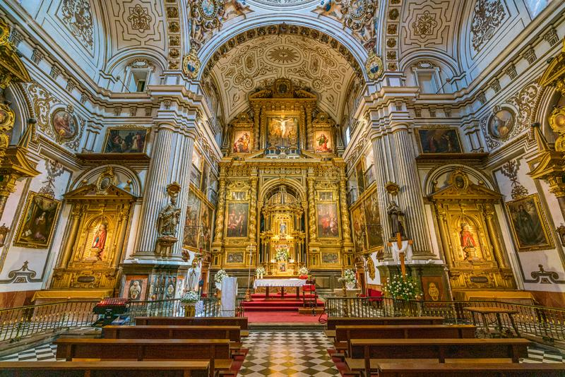 Church of Santos Justo y Pastor in Granada. Andalusia, Spain. Granada is the capital city of the province of Granada, in the autonomous community of Andalusia stock photos