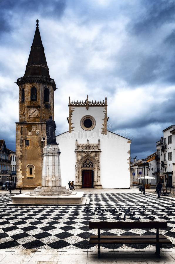 Church of Sao Joao Baptista in Praca da Republica, main square of Tomar, Portugal stock images