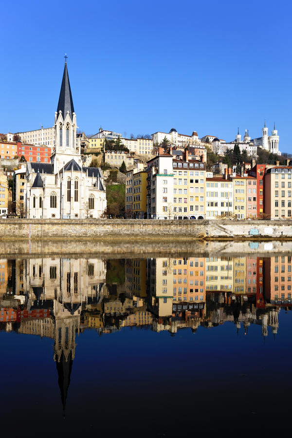 Church and Saone River. View of Lyon with church and Saone River in France stock photo