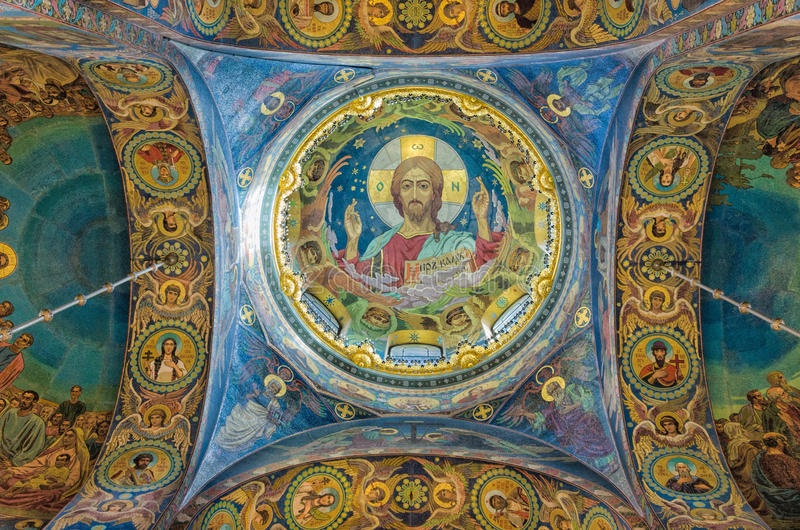 Church of the Savior on Spilled Blood. Beautiful mosaic platfond with an image of Jesus Christ. royalty free stock image
