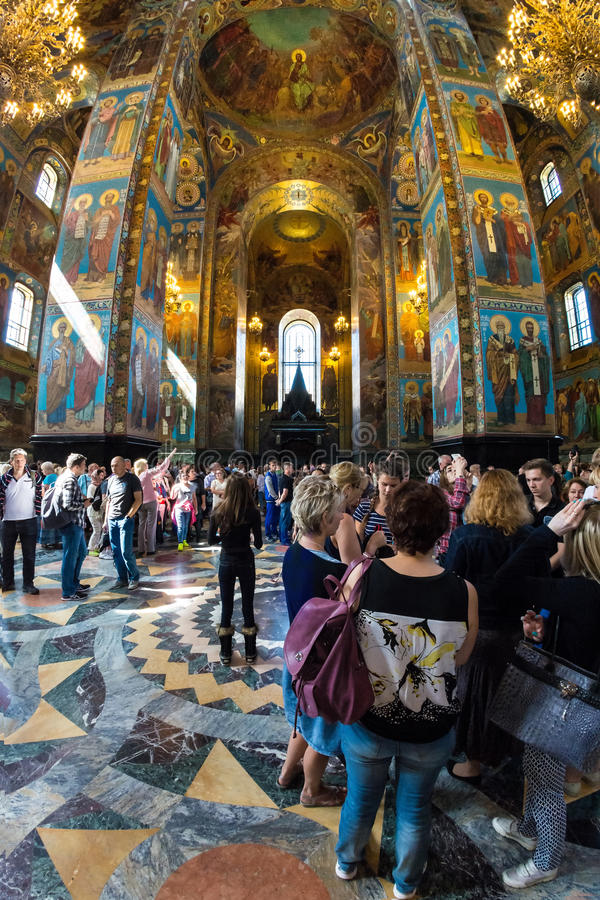 Church of the Savior on Spilled Blood. Many tourists visit the stock photo