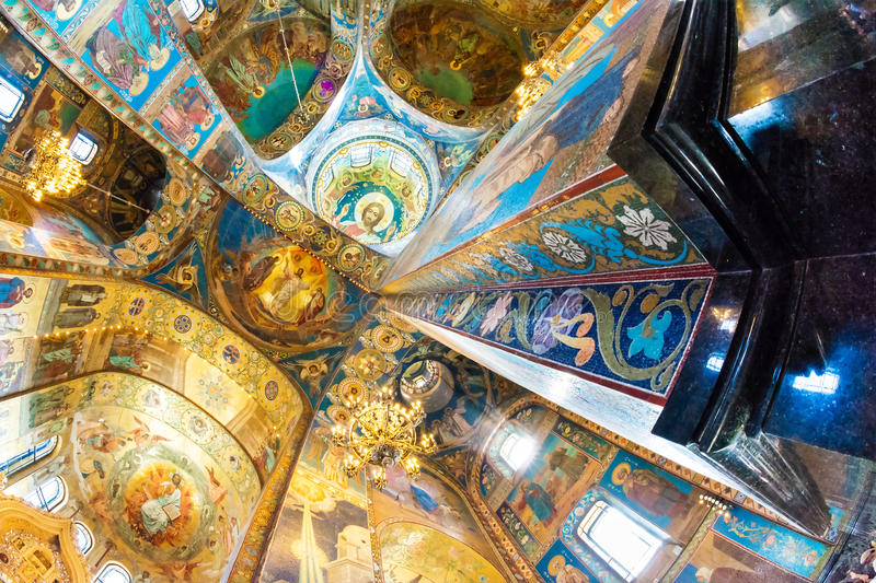 Church of the Savior on Spilled Blood. mosaic on the ceiling ar stock photography