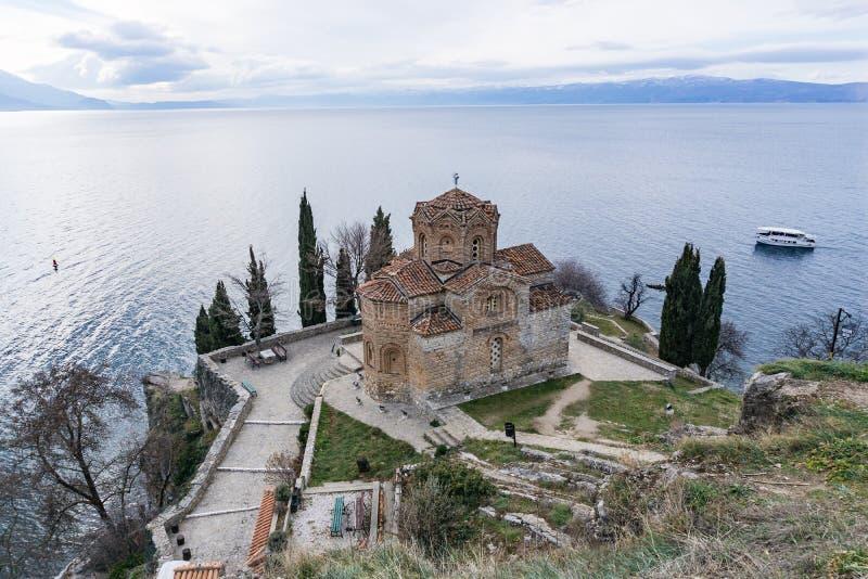 Church of Sf. John. The Thelogian at Kaneo in Ohrid Sv. JovannSaint John the Theologian, Kaneo Macedonian royalty free stock photo
