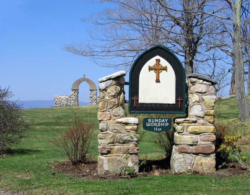 Download Church Sign stock image. Image of stone, posts, marker - 109969