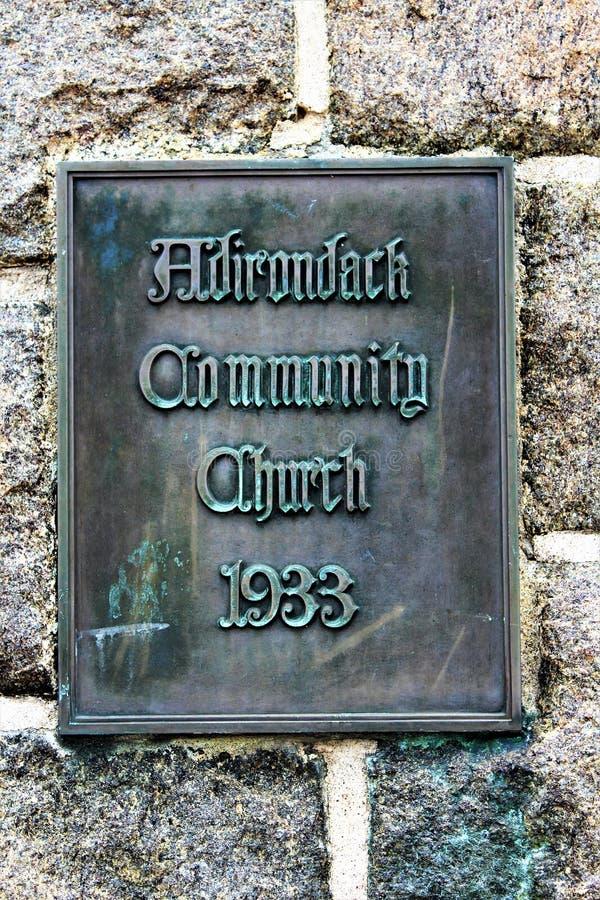 Lake Placid. Church sign at Lake Placid, New York village royalty free stock photo