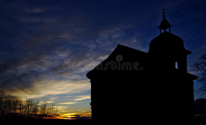 Church silhouette royalty free stock photography