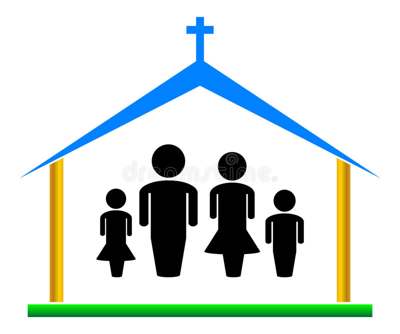 Church. Simple illustration of church and family stock illustration