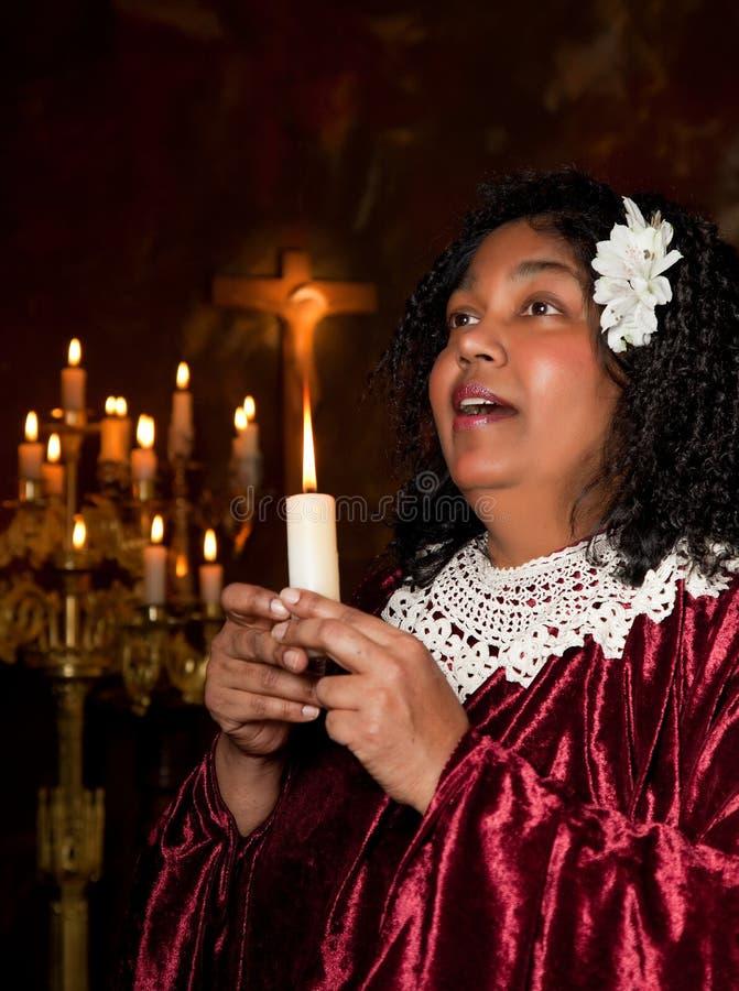 Church singer. Negro spiritual gospel singer singing a hymn royalty free stock photography
