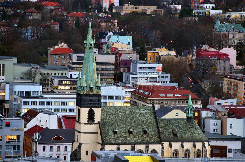 Church. With slanting tower in Usti nad Labem stock image
