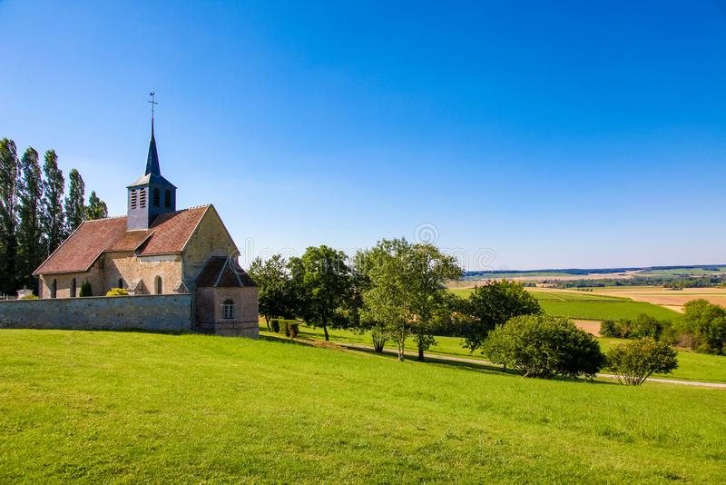 Village with typical church in Champagne region royalty free stock photography