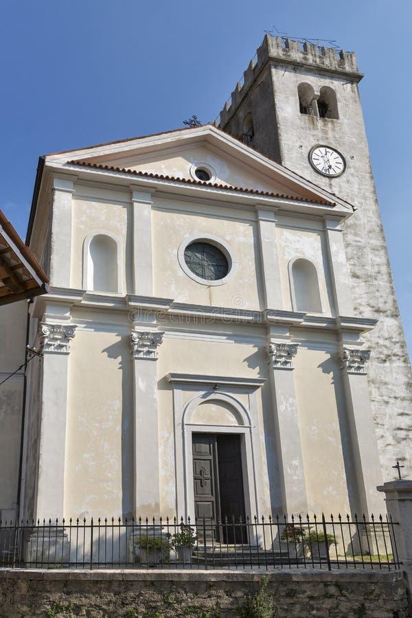 Church in Smartno medieval village, Slovenia. Saint Martin Parish church in Smartno medieval village, Brda region in Western Slovenia stock photography