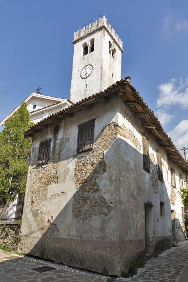 Church in Smartno medieval village, Slovenia. Saint Martin Parish church in Smartno medieval village, Brda region in Western Slovenia stock images