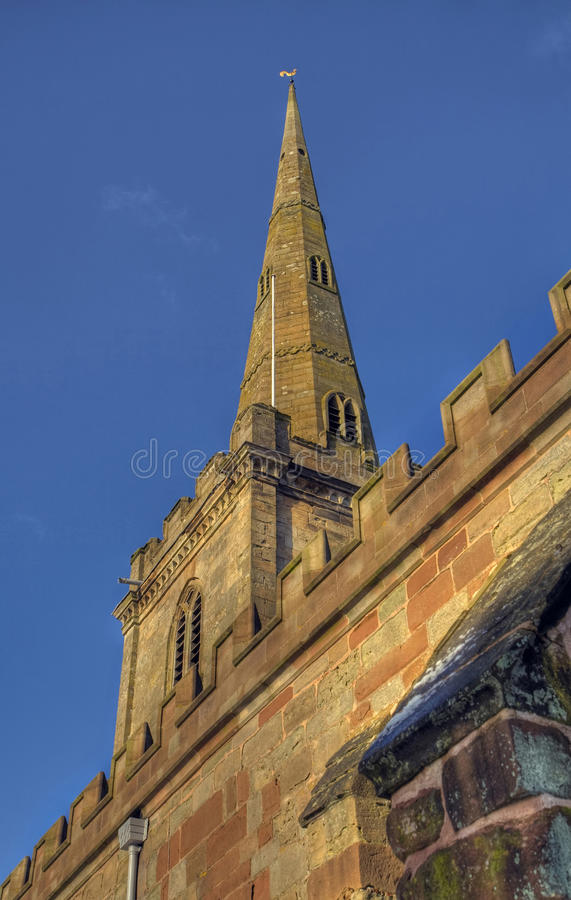 Church spire. At Chaddesley Corbett, Worcestershire, England stock photography